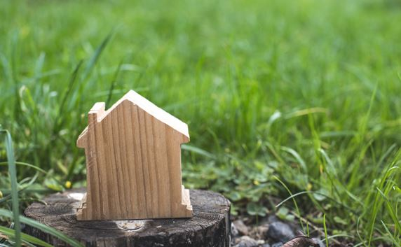 wood house on stump in front of grass