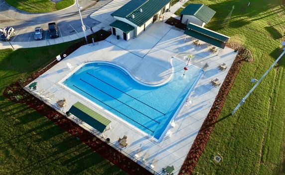 Aerial view of Janet J Smith Aquatic Facility
